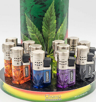 £6.49 • Buy CHAMP RASTA LEAF Windproof Dual JET FLAME REFILLABLE Lighter  Birthday XMAS Gift