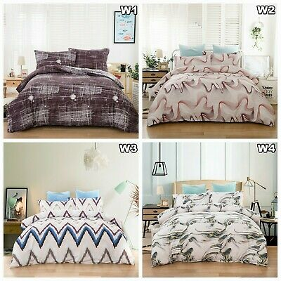 AU22.99 • Buy Checked Striped Doona Duvet Quilt Cover Set Queen King Size Bedding Pillow Cases