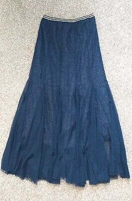 Lace & Beads  Long Dark Blue Sparkly Lace & Net Overlay Skirt Size 8 • 8.50£