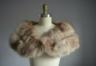 $110 • Buy Rare Natural Taupe Silver Luxe Vintage Genuine Fox Fur Stole Wrap Shawl