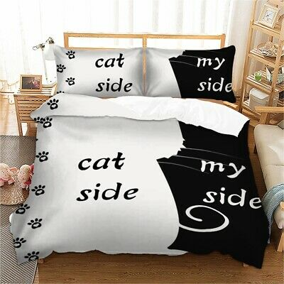 His And Her Side Cat & My Duvet Cover Pillow Cases Quilt Bedding Set All Sizes • 26.99£