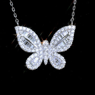 $3.90 • Buy Gorgeous Butterfly 925 Silver Necklace Pendant Women White Sapphire Jewlery Gift