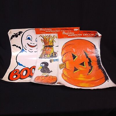 $ CDN39.62 • Buy Vintage Halloween Window Clings Lot Of 3 Ghost Pumpkin Scarecrow 80s