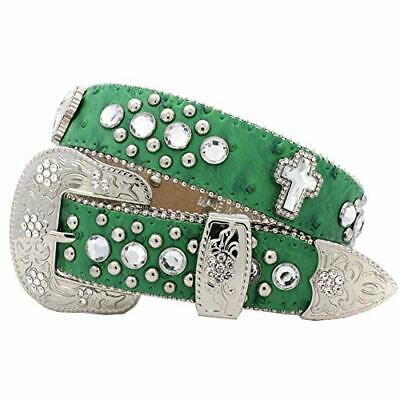 $34.52 • Buy Xs-1371-kids Girls Western Belts Cross Rhinestone Belts (green)