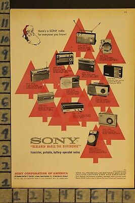 $21.95 • Buy 1960 Sony Radio Portable Transistor Christmas Music Sing Vintage Art Ad  Zd21