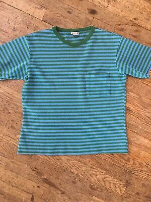 $ CDN123.13 • Buy Vintage 1960s 70s Blue Green Striped T Shirt Sweatshirt Mens L Surf Beatnik Punk