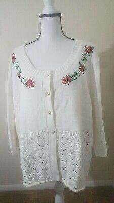 $10.50 • Buy Crystal Kobe Womens White  Christmas Cardigan Sweater New With Tag Size 3x