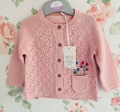 New Baby Girls Mini Club Boots Pink Knitted Floral Pocket Cardigan Tiny-18 Mths • 7.99£