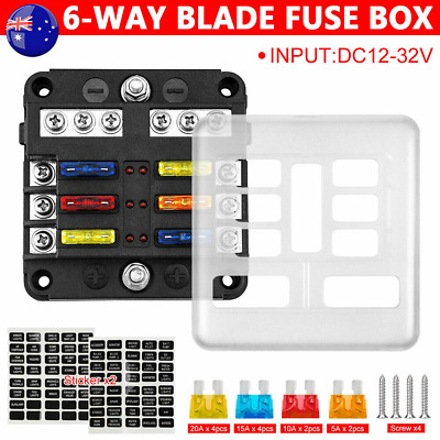 AU21.59 • Buy 6-Way Blade Fuse Box Auto Block Holder LED Indicator Kits 12V 32V For Car Boat