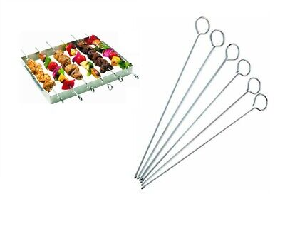 6 Pack BBQ Chrome Skewers Metal Barbecue Kebab Sticks Food Grill Cooking 11Inch  • 3.89£