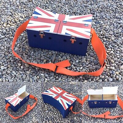 Double Flag Painted Top Bow Back Ferret Box Ferreting Rabbiting Hunting • 42£