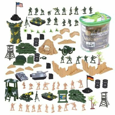 $13.99 • Buy 100 Piece Military Figures & Accessories, Toy Army Soldiers Two Flag Attlefield