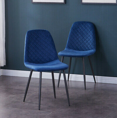 AU240 • Buy 2/4 Eames Dining Chairs Velvet Fabric Metal Legs Kitchen Lounge Restaurant Home
