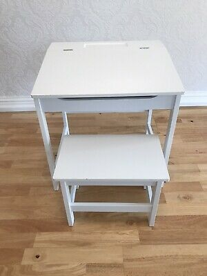Child's Traditional Wooden Painted White School Desk With Stool • 25£