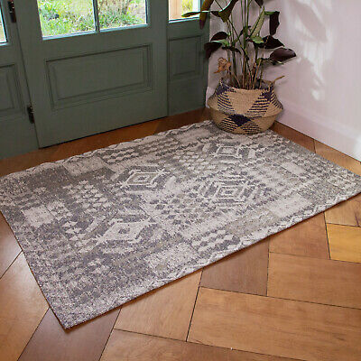 Beige Tribal Flatweave Rug Small Large Cotton Living Room Rugs Long Hall Runners • 59.95£