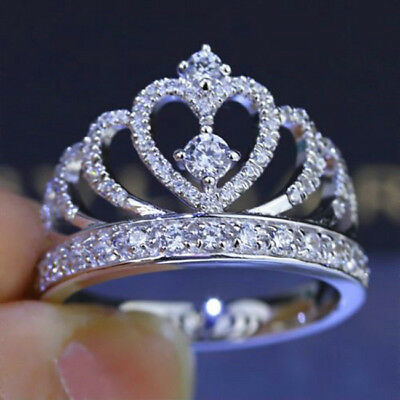 Fashion Women's Princess Queen Crown Silver Plated Wedding Crystal Ring Gift 6A • 2.05£