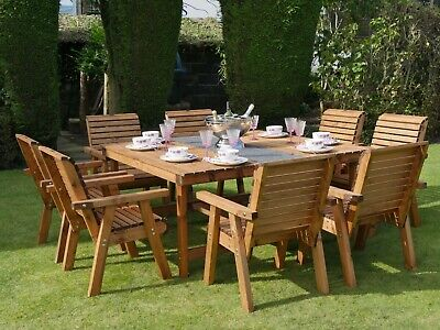 £924.99 • Buy 8 Wooden Seat Chairs + 8 Seater Garden Wood Table Set Extra Large Furniture New