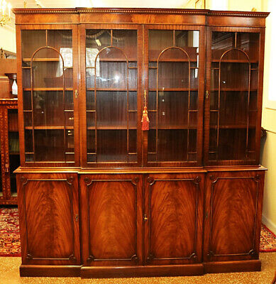 $3500 • Buy Incredible English Flame Mahogany Breakfront Bookcase Cabinet By Bevan Funnell