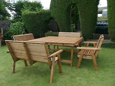£849.99 • Buy 8 Seater 4 Garden Bench Seat Chairs Large Square Wood Table Patio Set Furniture