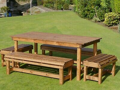 £449.99 • Buy 8 Seater 8 Person Seats Chairs Garden Bench + 6ft Wooden Table Set Furniture BBQ
