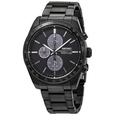 $ CDN334.99 • Buy Seiko Solar Chronograph Quartz Black Dial Mens Watch SSC721