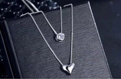 £4.25 • Buy 925 Sterling Silver Two Layer Heart Crystal Pendant Necklace Women's Jewellery