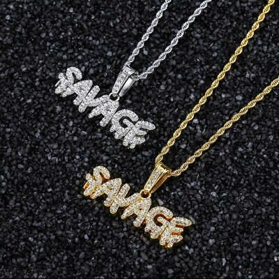 £11.99 • Buy Savage Iced Out Necklace Hip Hop Gold Silver Plated Jewelry Chain Bling Gift