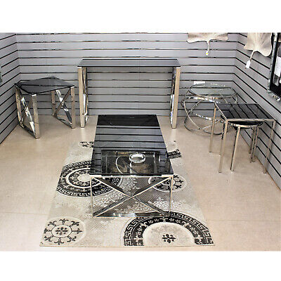 Apex Nesting Tables Smoked Glass Top Coffee Table Desk Living Room Furniture Set • 219.95£