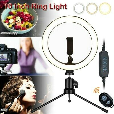 AU38.99 • Buy 10  Dimmable LED Ring Light Tripod Stand Selfie Desk Lamp Make Up+Remote Control