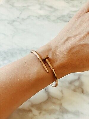 $17.95 • Buy Rose Gold Cuff Love Nail Screw Bracelet . Stainless Steel.