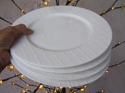 $38 • Buy Roscher 4 X 10 1/2  WHITE GEOMETRIC DIAMOND ROUND DINNER PLATES Basketweave