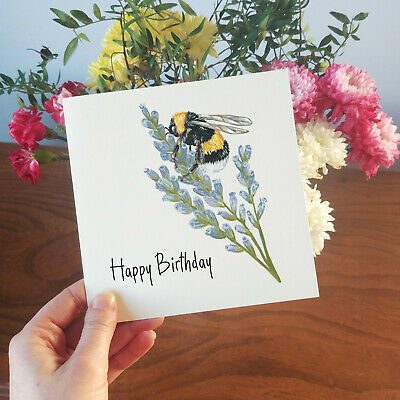 £2.55 • Buy Bumble Bee On Lavender Birthday Card . Bee Illustration . Hand Painted .