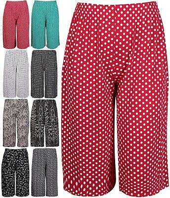 £8.99 • Buy New Womens Printed Ladies Plus Size Stretch Elasticated Wide Leg Culottes Shorts