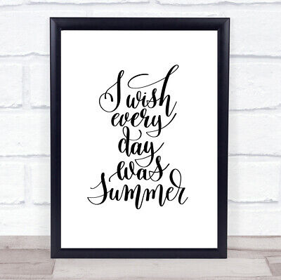 £19.95 • Buy Wish Every Day Summer Quote Print Poster Typography Word Art Picture