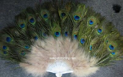 £28.77 • Buy Vintage Looking Peacock Cream  Feather Holding Hand Fan~Halloween Party