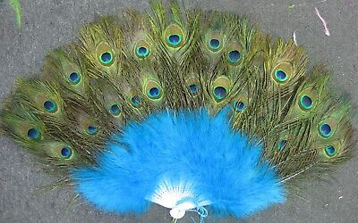£28.77 • Buy Vintage Looking Peacock Turquies Feather Holding Hand Fan~Halloween Party