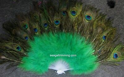 £28.77 • Buy Vintage Looking Peacock Green  Feather Holding Hand Fan~Halloween Party
