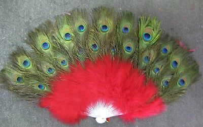 £28.77 • Buy Vintage Looking  Peacock Red Feather Holding Hand Fan~Halloween Party
