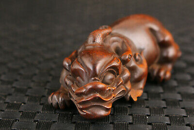 £19.99 • Buy Unique Chinese Old Boxwood Hand Carved Kylin Statue Netsuke