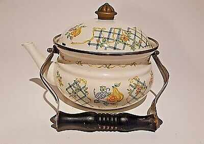 $13.50 • Buy M. Kamenstein Enamel Floral Flowers Fruit Tea Pot Kettle Wood Handle Vintage