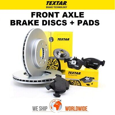 TEXTAR Front BRAKE DISCS + PADS For MERCEDES A-Class A45 AMG 4matic 2013-2015 • 168.99£