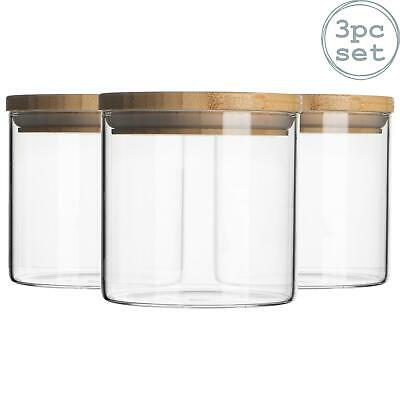 £13.99 • Buy 3pc Glass Jar With Wooden Lid Storage Container Airtight 550ml
