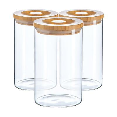 £13.99 • Buy 3pc Glass Jar With Wooden Lid Storage Container Airtight 1020ml