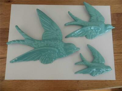 Vintage Retro Kitsch Set Three Flying Swallows Duck Egg Hanging Wall Decor Fab • 14.99£