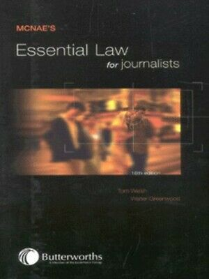£2.44 • Buy McNae's Essential Law For Journalists By Tom Welsh (Paperback / Softback)