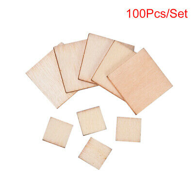 $2.90 • Buy 100pcs Blank Squares Wood Pieces Round Corner Square Wooden Cutouts DIY Cr Xb WH