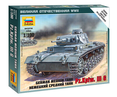 AU10 • Buy Zvezda 1/100 (Snap-Fit) German Medium Tank Pz.Kpfw.III Ausf.G