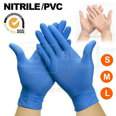 AU30.88 • Buy 100/200x Disposable Blue Nitrile Clear Vinyl Medical Gloves Latex Powder Free AU