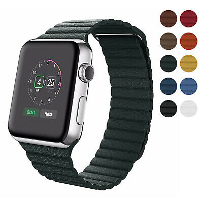 $ CDN14.14 • Buy Magnetic Leather Band For Apple Watch Series 5/4/3/2 IWatch Strap 38/40/42/44mm
