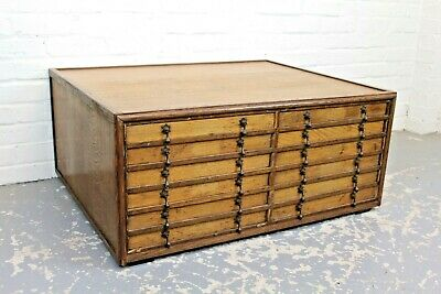 Antique Oak Collectors Specimen Chest ~ Bank Of 12 Chest Of Drawers Cabinet • 475£